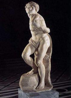 Slave Rebelling by Michelangelo Miguel Angel, Michelangelo Sculpture, Italian Sculptors, Louvre, High Renaissance, Old Master, Paris, Figure Drawing, Amazing Art