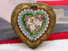 Heart Shape Brass Filigree & Micro Mosaic Pill Snuff Box