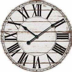 "Beautiful Nora Lane Oversized Rustic Wood 24"" Wall Clock."