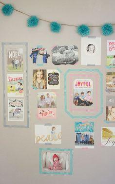 Make a modern holiday card display with washi tape!