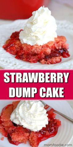 Strawberry Dump Cake 3 Ingredient strawberry dessert Perfect easy Valentine's dessert kids can make is part of Strawberry desserts - Valentine Desserts, Easy Desserts, Delicious Desserts, Valentine Cake, Holiday Desserts, Food Cakes, Dump Cake Recipes, Dessert Recipes, Canned Strawberries