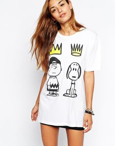 Criminal+Damage+Oversized+Boyfriend+T-Shirt+With+Snoopy+Crown+Print