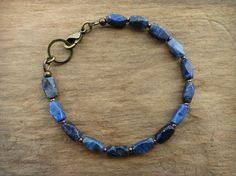 Faceted Blue Lapis Bracelet, dainty rustic Boho Bohemian beaded jewelry with cobalt blue, faceted, gold flecked lapis lazuli and brass