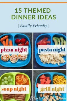 These themed dinner ideashelp bring structure to your family's meal planning making dinners during the week a breeze! #themeddinnerideas #themeddinnerideasfamilies #toddlerfriendlyrecipes #toddlerfriendlydinnerideas #familyfriendlymeals Dinner Recipes Easy Quick, Good Healthy Recipes, Baby Food Recipes, Toddler Recipes, Frugal Recipes, Family Recipes, Easy Family Meals, Dinners For Kids, Kids Meals