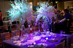 All Dendrobium Orchid Head Table Centerpiece at the Aladdin Shrine Center