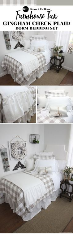 Want the perfect farmhouse look in your dorm room? We created an entire set about this farmhouse tan gingham check plaid duvet (and matching sham) and we are in love! Buffalo check, ticking stripe, and frills... oh my! We know Joanna Gaines would love this farmhouse dorm bedding as much as we do! Neutral dorm room bedding. Neutral Color Dorm Room. Sophisticated Dorm Room. Natural dorm room bedding. Fixer Upper Inspired Dorm Room.