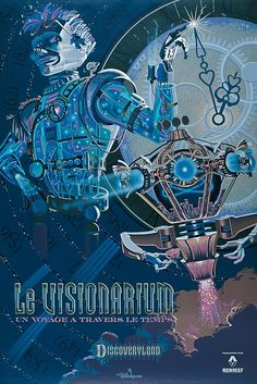 """Le Visionarium"" Disneyland Paris attraction poster for Time Keeper - perfect Steampunk art!"