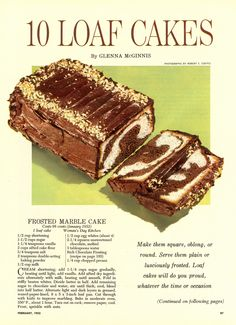 """Frosted Marble Cake Recipe from """"Woman's Day"""" Retro Recipes, Vintage Recipes, Vintage Food, 1950s Recipes, Vintage Cakes, Sweets Recipes, Just Desserts, Cooking Recipes, Marble Cake Recipes"""