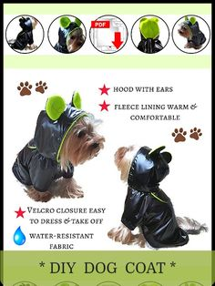 PDF Pattern and tutorial dog coat waterproof with fleece lining fabric, hood with ears. Size Medium. #smalldogfashion #dograincoat #dogcoats #doghoodie #dogclothes #dogclothesdiy #sewingpattern #coatpattern Dog Coat Pattern, Coat Pattern Sewing, Coat Patterns, Jacket Pattern, Sewing Patterns, Small Dog Clothes Patterns, Clothing Patterns, Small Dog Coats, Small Dogs