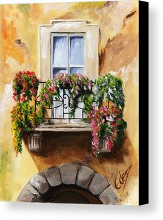 Balcony Canvas Print Featuring The Painting Of Parma By Edit Voros