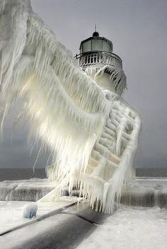 rhode island, frozen lighthouse