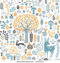 stock vector : vector illustration. seamless forest pattern