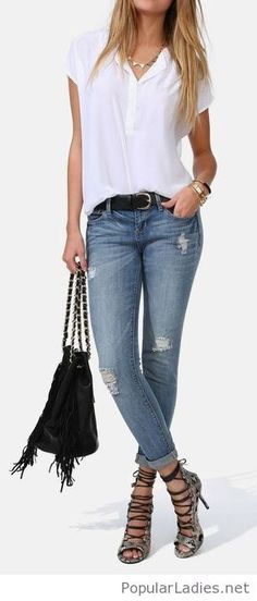 White top, jeans and boho accessories