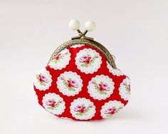 #Red Coin Purse with Pink #Roses and Hearts, Floral Purse, Valentines Day Gift  Bright red purse for coins is made from cotton fabric with pink roses and hearts can be a wonderful gift for Valentines Day.  Lining: pink