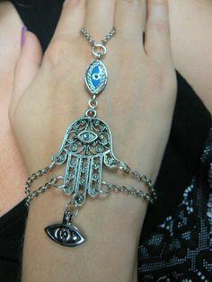 Hamsa Hand Evil Eye Slave Bracelet/Etsy/$28.00