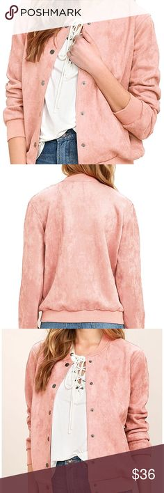 🆕💓💓💓 New product!💓💓 Women's faux suede button down baseball short bomber jacket in pink! 💖💖💖medium- size 8💖 super soft looks like it runs small so check measurements!💖 flexible sizing may fit a size 6 or four! Jackets & Coats