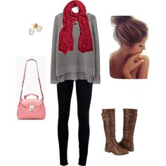 Cute fall outfit! oversized sweater with leggings