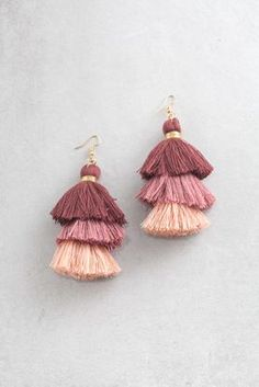 Crystal Anniversary Jewelry for Wife, Orange Crystal Earrings, Unique Gemstone and Sterling Jewelry - Fine Jewelry Ideas Diy Tassel Earrings, Tassel Jewelry, Fabric Jewelry, Unique Earrings, Crystal Earrings, Diy Jewelry, Jewelry Accessories, Fashion Jewelry, Jewelry Making