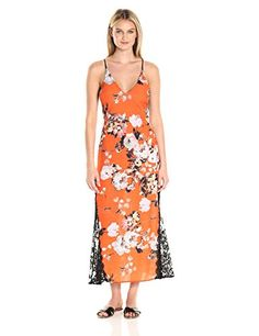 e6376939814 ABS Allen Schwartz Women s Summer Floral Printed Slip Gown with Contrast  Lace Tangerine 10