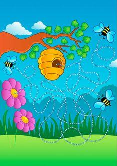 Schmitt Buffet e Eventos Fall Preschool Activities, Numbers Preschool, Motor Skills Activities, Toddler Activities, Mazes For Kids, Art For Kids, Educational Games For Kids, Kids Learning, File Folder Activities