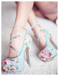 Baby blue shoes with pink roses.