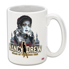 15oz White Mug. Features the ghost cover art of Charlotte in Nancy Drew: Ghost of Thornton Hall. Available in the Her Interactive merchandise store!  $15.99
