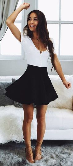 #fall #outfits  White Top + Black Skirt