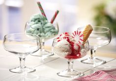 Glass Footed Dessert Bowls, Set Of 4 - Mousse, Ice Cream