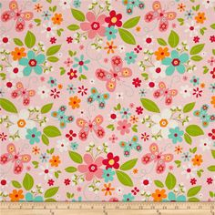 Riley Blake Garden Girl Main Pink from @fabricdotcom  Designed by Zoe Pearn for Riley Blake Design, this cotton print collection features sweet, girly, patterns and colorways. From flowers, to butterflies and polka dots - all of these prints would make a lovely quilt, ruffled dress, pillowcase, and any variety of quilting, apparel, and home decor projects. Colors include shades of pink, green, aqua, white, yellow, and orange.