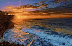 Ocean Beach Sunset 2 Cross Stitch pattern PDF - Instant Download! by PenumbraCharts on Etsy