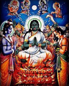"""Oh Kali, You appeared as Sita to bring about the destruction of Ravana, the Roaring Demon King. You adore the Lotus Feet of Lord Rama and… Indian Goddess Kali, Indian Gods, Indian Art, Saraswati Goddess, Shiva Shakti, Mother Kali, Divine Mother, Kali Mata, Hindu Culture"