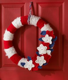 Stars & Stripes Wreath...An easy and colorful way to show your patriotism!!..FREE PATTERN!!