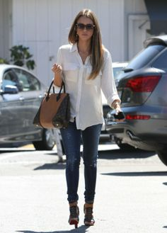 50 Unparalleled Street Style Looks Courtesy of Jessica Alba: Jessica Alba kept it classic in a white Bella Dahl blouse and cool in ripped skinny denim, then added a major dose of luxe with a Louis Vuitton Fall 2013 bag and Christian Louboutin booties while out in LA.