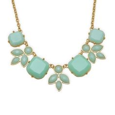 "18"" + 3"" Gold Tone Fashion Necklace with Sea Green Leaf Design"