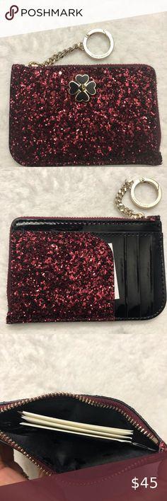 Victoria/'s Secret Sparkle Pink striped Iphone Snap Wallet Clutch Cardholder NEW