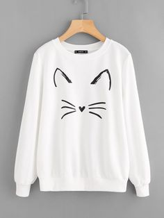 SHEIN Cartoon Cat Print Sweatshirt Pullovers Women White Long Sleeve Autumn New Fashion Casual Women Sweatshirts Sweatshirts Online, Printed Sweatshirts, Hoodies, Hoodie Sweatshirts, Cute Fashion, Fashion Outfits, Women's Fashion, Cool Outfits, Casual Outfits