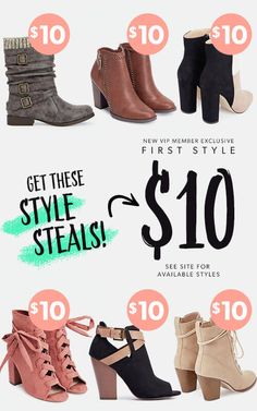 EXCLUSIVE OFFER! For a limited time, new JustFab VIPs get their first pair for only $10! First, take our Style Quiz and be whisked away to your own personalized boutique curated just for you. Then, get your favorite style for as low as $10! As a VIP, you'll enjoy up to 30% off the retail price, free shipping on orders over $39, and early access to sales! Just login each month and shop or 'Skip the Month' by the 5th and you won't be charged. Hurry, this offer won't last long!