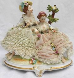 Volkstedt Dresden Lace Porcelain Figurine of Ladies with Birds Germany | eBay