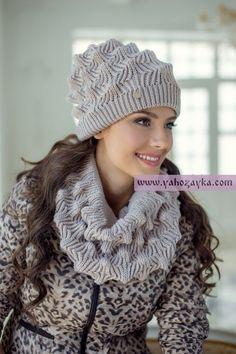 Комплект шапка снуд спицами схема. Модный зимний комплект: шапка и шарф спицами