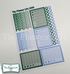 December Color Green/Light Blue Kit for by ThePlannerLife2015
