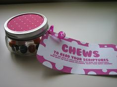 """""""Chews"""" to read the scriptures. Jar with bubble gum. Put gum in mouth and chew it while reading your scriptures. When flavor is gone...you're done reading!"""