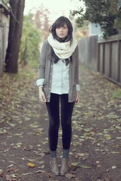 Gap Scarf, American Apparel Tri Blend Rib Cardigan, Gap Denim Button Up, American Apparel Velvet Stirrup Leggings, Dolce Vita Wedges