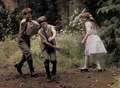 """The Secret Garden Dickon (Andrew Knott), Colin (Heydon Prowse), and Mary (Kate Maberly). In this scene all three of them are in the secret garden. Dickon and Mary have succeeded in helping Colin in healing his """"condition. Story Inspiration, Character Inspiration, Movies Showing, Movies And Tv Shows, The Secret Garden 1993, Period Dramas, Film Stills, Jane Austen, Movie Tv"""