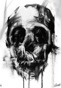 Tom French - Skull Illusion Artwork by Tom French <3 <3