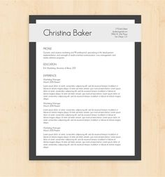 Out of the box free resume template i pinterest resume template cv template the christina baker resume design instant download word yelopaper