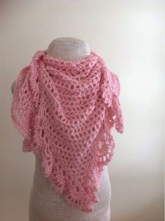Undeniable Glitter: Pink Lacy Triangular Shawl