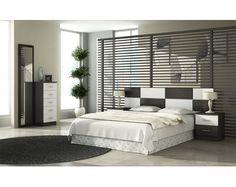 Oferta dormitorio completo compuesto por cabecero, 2 mesillas, sinfonier y espejo vestidor