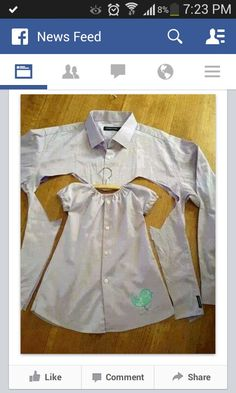Easy wee girls dress made from a old shirt