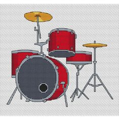 Drum Kit Cross Stitch Kit