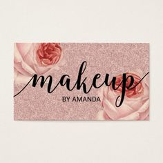 Rose Gold Floral Makeup Artist Beauty Salon Business Card
